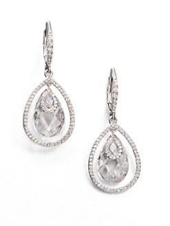 Adriana Orsini - Faceted Framed Drop Earrings/Clear