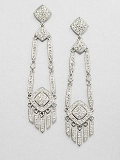Adriana Orsini - Crystal Encrusted Deco Chandelier Earrings