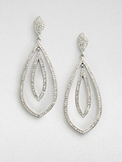 Adriana Orsini - Crystal Encrusted Double Teardrop Earrings