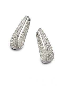 Adriana Orsini - Crystal Accented Hinged Hoop Earrings
