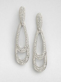 Adriana Orsini - Crystal Accented Graduated Oval Drop Earrings