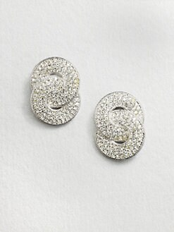 Adriana Orsini - Crystal Encrusted Interlocking Circles Button Earrings