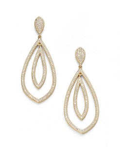 Adriana Orsini - Double Teardrop Sparkle Earrings/Gold