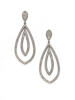 Adriana Orsini - Double Teardrop Sparkle Earrings/Silver
