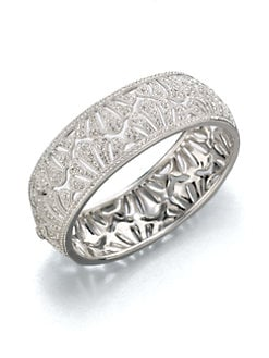 Adriana Orsini - Shell Pave Rhodium Bangle