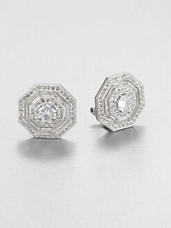 Adriana Orsini - Pavé Octagon Button Earrings