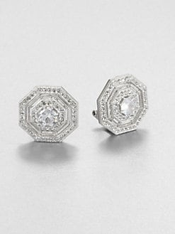 Adriana Orsini - Pav&eacute; Octagon Button Earrings