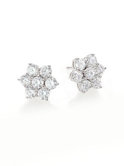 Adriana Orsini - Faceted Flower-Shaped Sterling Silver Earrings