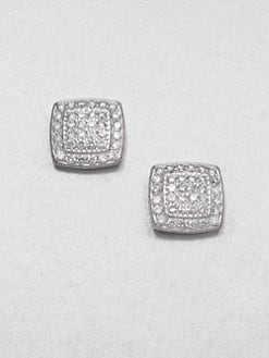 Adriana Orsini - Pav&eacute; Sterling Silver Button Earrings