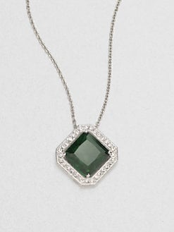 Adriana Orsini - Pavé-Framed Emerald-Color Cubic Zirconia Necklace