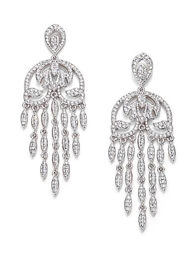 Pavé Crystal Fringe Chandelier Earrings $100.18 AT vintagedancer.com