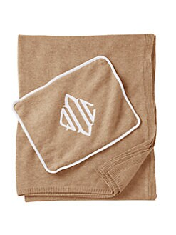 Queen of Cashmere - Personalized Cashmere Travel Throw/Camel & Snow