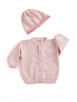MJK Knits - Personalized Cardigan & Hat Set/Pink