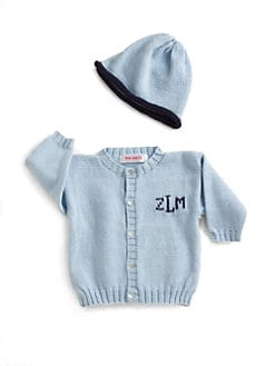 MJK Knits - Personalized Cardigan & Hat Set/Blue