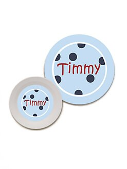 Preppy Plates - Personalized Bowl & Plate Set/Blue Dots