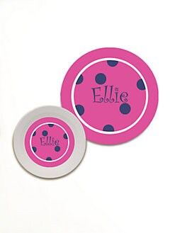 Preppy Plates - Personalized Bowl & Plate Set/Pink Dots