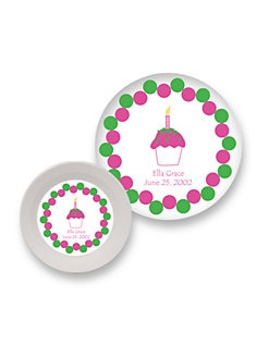 Preppy Plates - Personalized Bowl & Plate Set/Pink Cupcake