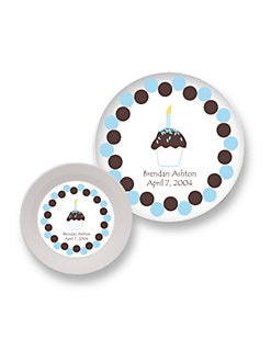 Preppy Plates - Personalized Bowl & Plate Set/Blue Cupcake