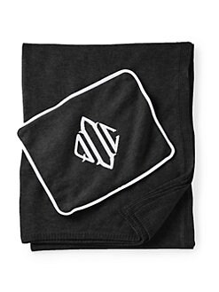 Queen of Cashmere - Personalized Cashmere Travel Throw/Black & Snow