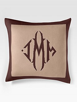 Queen of Cashmere - Personalized Cashmere Pillow /Camel & Cafe Noir