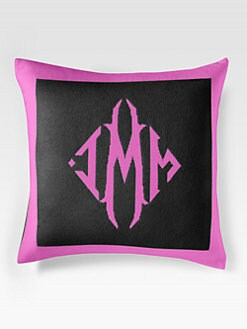 Queen of Cashmere - Personalized Cashmere Pillow/Black & Peony