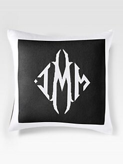 Queen of Cashmere - Personalized Cashmere Pillow/Black & Snow