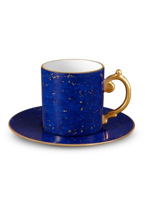 Lapis-Look Limoges Porcelain & 24K Gold Espresso Cup & Saucer
