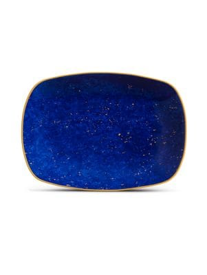 Lapis-Look Limoges Porcelain & 24K Gold Tray/Small