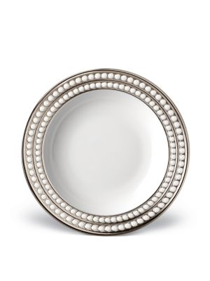 Perlee Porcelain and Platinum Soup Plate