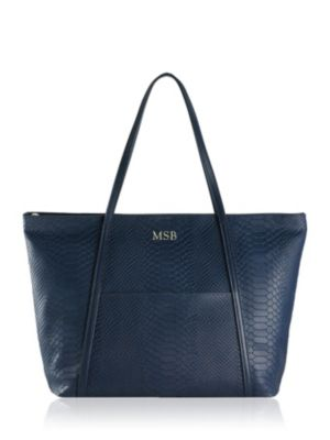 Personalized Jessica Python-Embossed Zipper Tote
