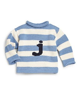 MJK Knits - Infant's, Toddler's & Kid's Personalized Striped Cotton Letter Sweater