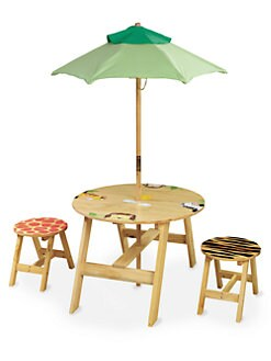 Teamson - Sunny Safari Outdoor Table and Stool Four-Piece Set