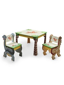 Teamson - Dinosaur Kingdom Table and Chair Three-Piece Set