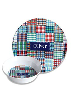 Preppy Plates - Personalized Blue Madras Plate and Bowl Set