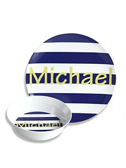 Preppy Plates - Personalized Sailor Stripe Plate and Bowl Set
