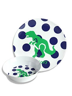 Preppy Plates - Personalized Dinosaur and Dot Plate and Bowl Set