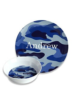 Preppy Plates - Personalized Blue Camo Plate and Bowl Set