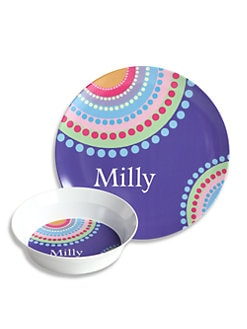 Preppy Plates - Personalized Color Dots Plate and Bowl Set