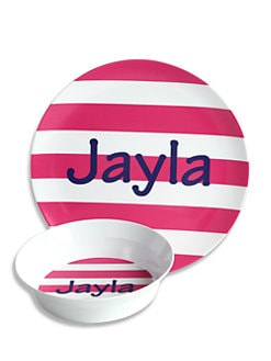 Preppy Plates - Personalized Lollipop Stripe Plate and Bowl Set