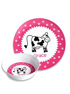 Preppy Plates - Personalized Cow and Dot Pink Plate and Bowl Set