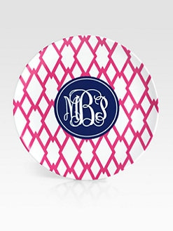 Preppy Plates - Personalized Trellis Pattern Plates, Set of 4/Navy & Pink
