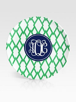 Preppy Plates - Personalized Trellis Pattern Plates, Set of 4/Kelly