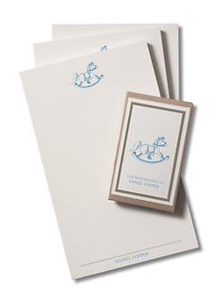 Charles Fradin Home - Personalized Children's Note Pads & Bookplates/Blue Rocking Horse