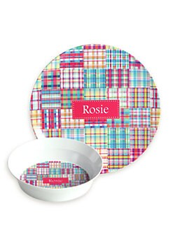 Preppy Plates - Personalized Pink Madras Plate and Bowl Set