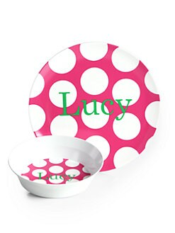 Preppy Plates - Personalized Pop Dot Hot Pink Plate and Bowl Set