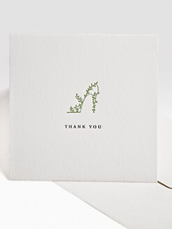 Charles Fradin Home - Letterpress Thank You Notes/Ivy