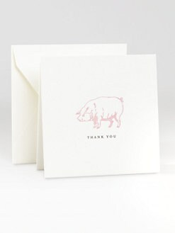 Charles Fradin Home - Letterpressed Thank You Notes/Pig