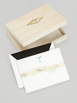 Charles Fradin Home - Letterpress Note Cards in Wood Box/Martini Glass