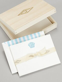 Charles Fradin Home - Letterpress Note Cards in  Wood Box/Cupcake