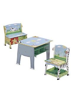 Teamson - Sunny Safari Desk, Chair & Bench Set